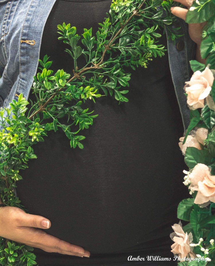 Baby Bump Draped In Ivy
